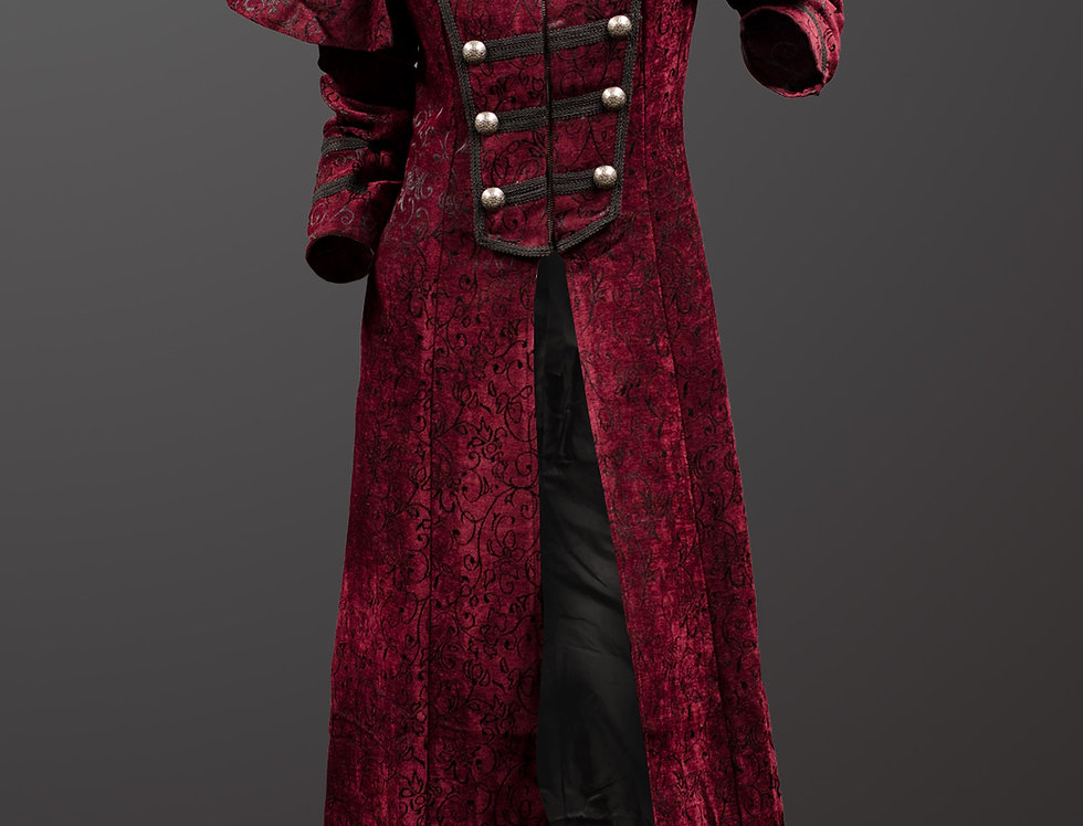 Steampunk Gothic Full Length Thick Red Pattern Fabric Coat