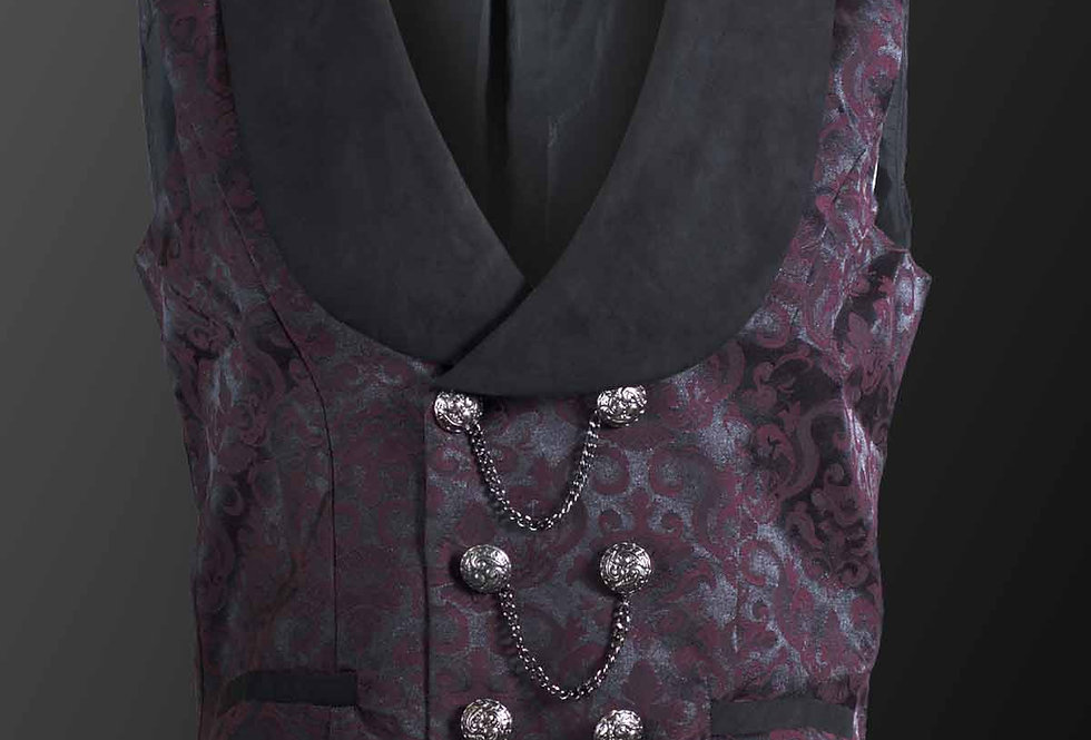 Red Brocade Pattern Gothic Waistcoat With Chain Details