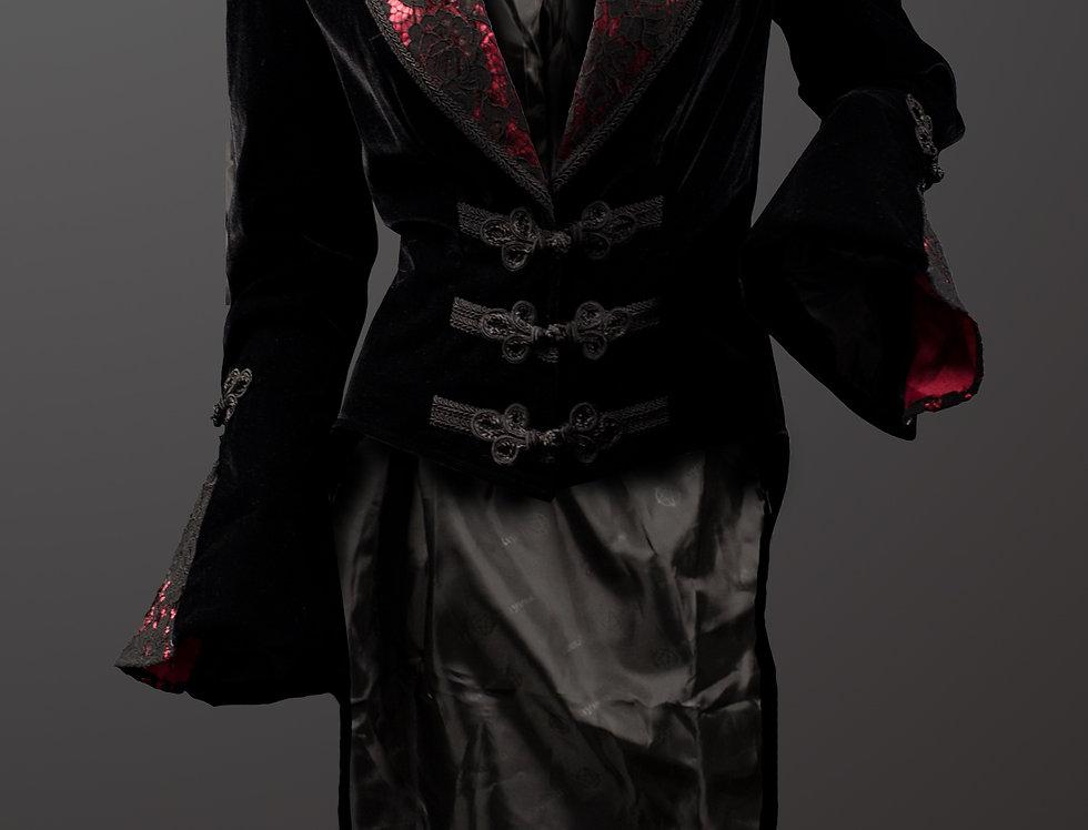 Elegant Gothic Black Velvet Tailcoat