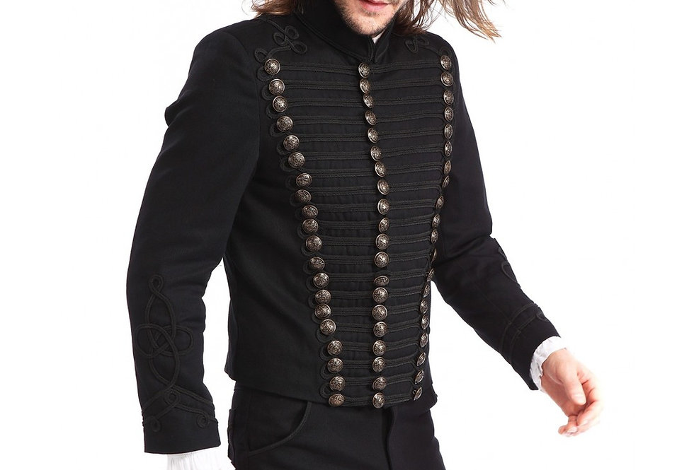 Gothic Steampunk Men's Upscale Black Trim Military Coat