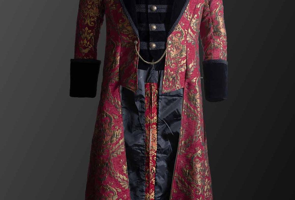 Aristocratic Red Brocade Full Length Men's Coat with Built-in Waistcoat