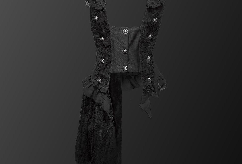 Detachable Partial Lace Overskirt Gothic Steampunk Vest