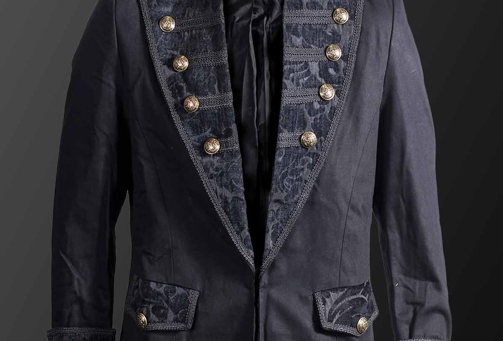 Black Military Jacket With Large Velvet Brocade Laples