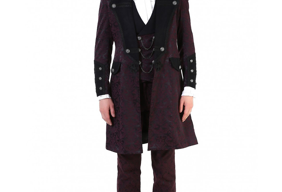 Burgundy Red Brocade Pattern Frock Coat With Oriental Knot Closure