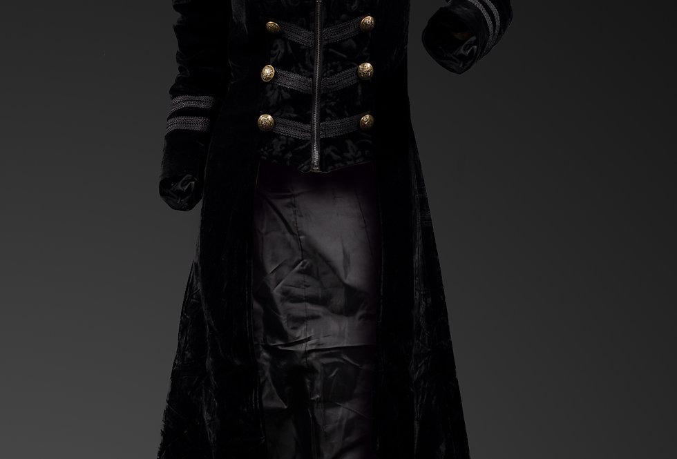 Gothic Black Velvet Corseted Long Coat