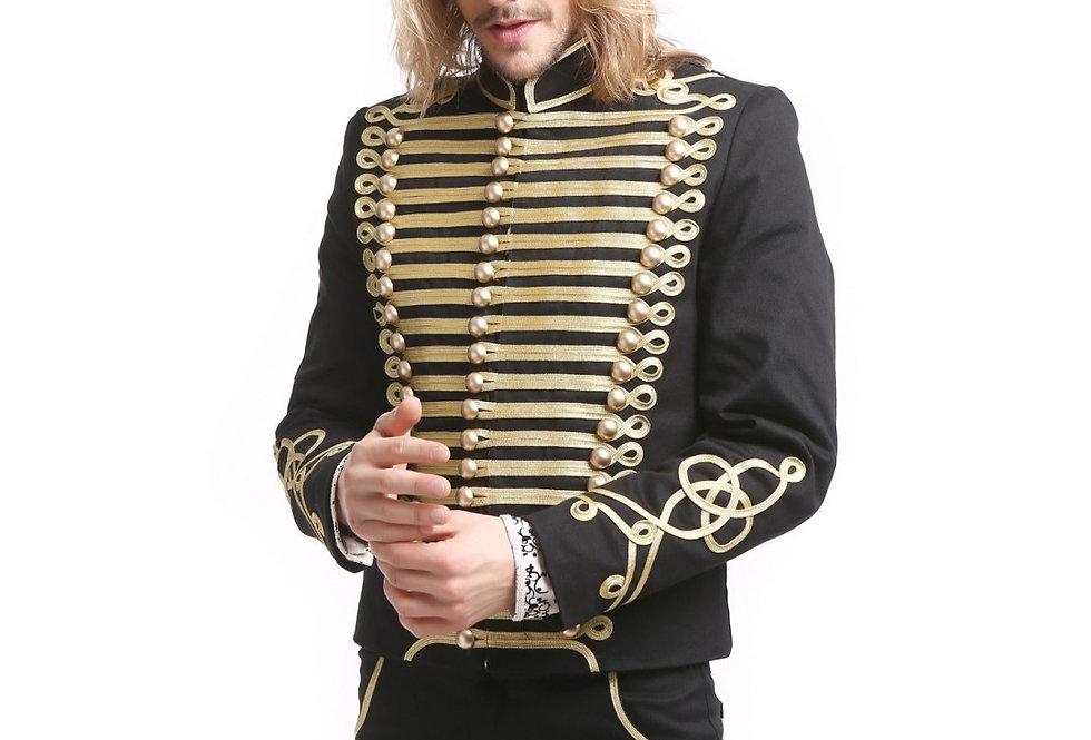 Gothic Steampunk Men's Upscale Gold Trim Military Coat