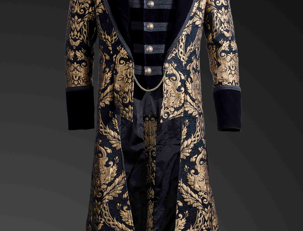 Aristocratic Gothic Steampunk Gold Brocade Full Length Men's Coat with Built-in