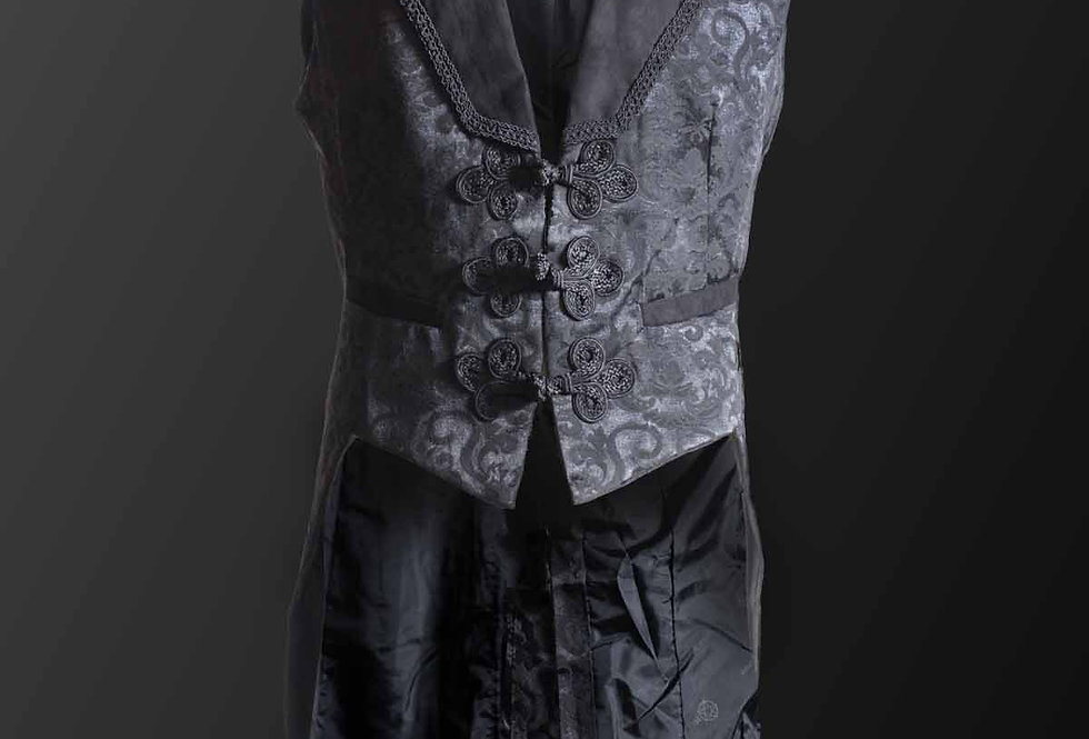 Long Black Brocade Pattern Waistcoat With Oriental Knot Closure