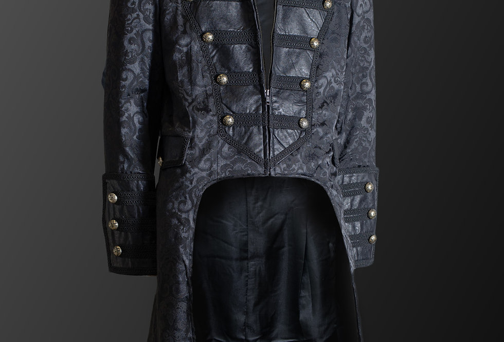 Understated Military Style Brocade Pattern Gothic Steampunk Frock Coat