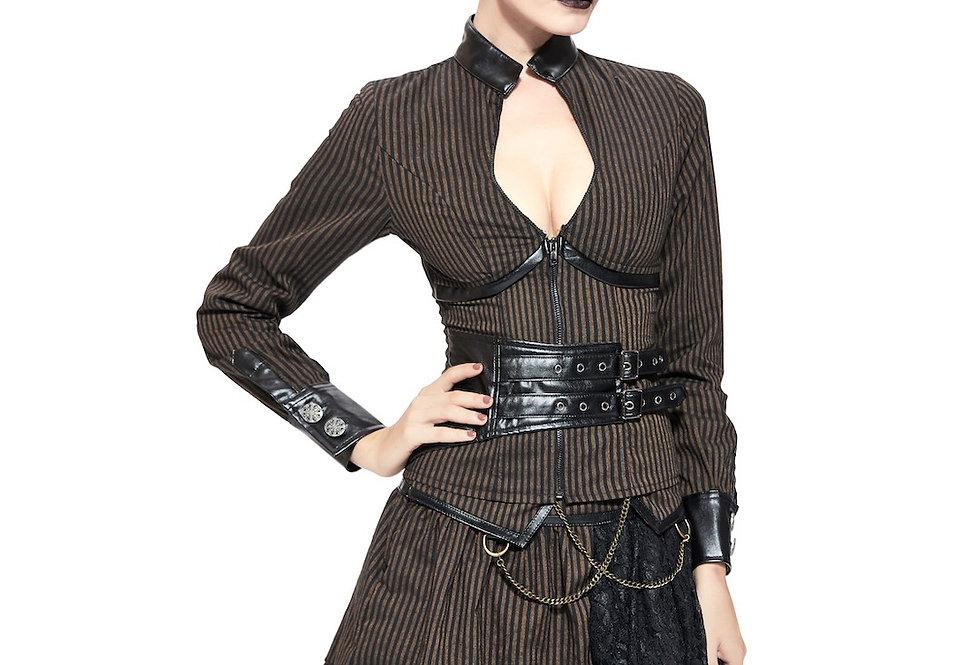 Gorgeous Black & Brown Cotton Stripe Steampunk Top