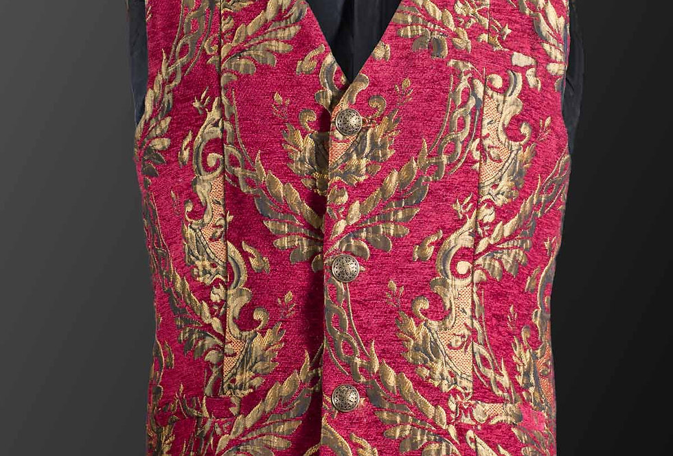 Royal Court Brocade Waistcoat in Red & Gold
