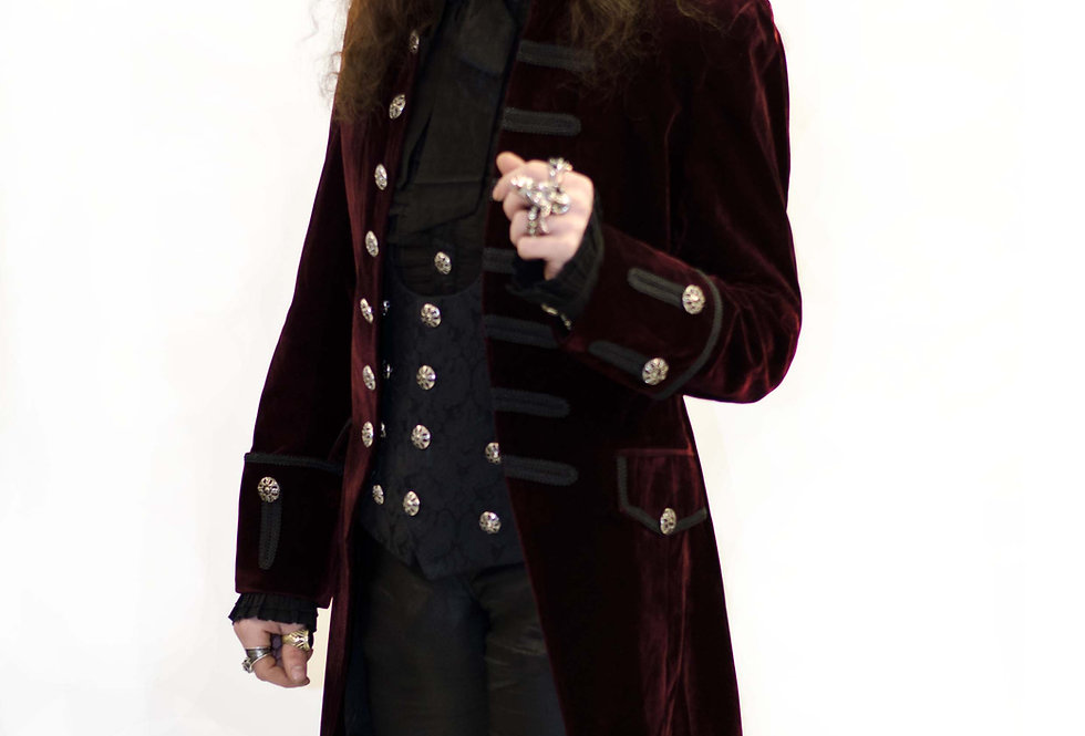 Burgundy Velvet  Open Front Aristocratic  Frockcoat