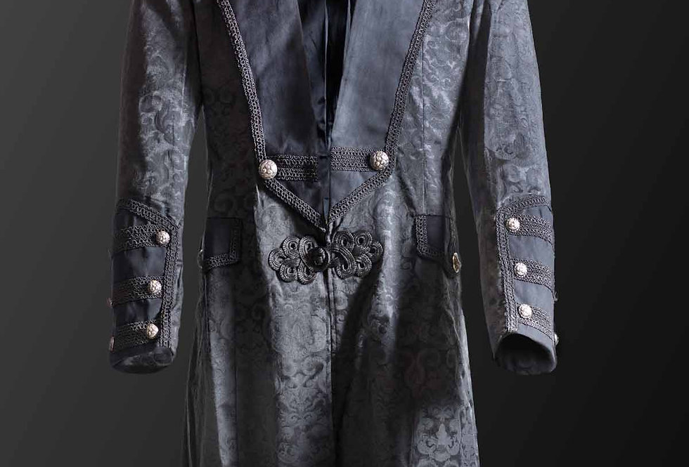Black & Grey Brocade Pattern Frock Coat With Oriental Knot Closure