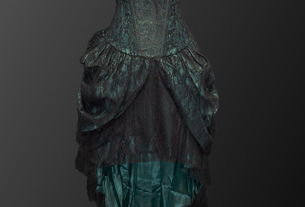 Beautiful Cascading Lace Fabric Steampunk Gothic Corset Dress