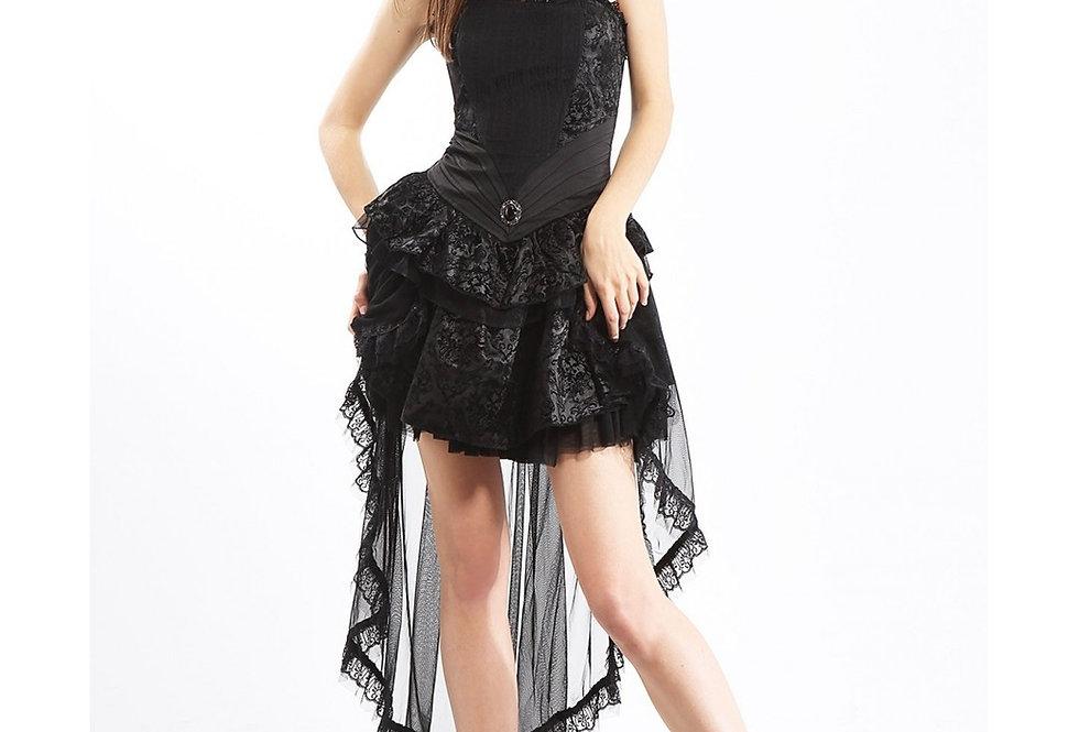 Elegant Gothic Skull Pattern Fabric Corset Dress
