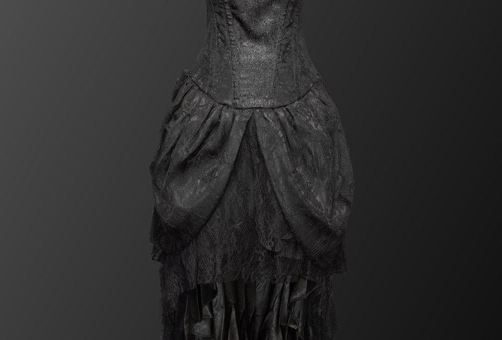 Beautiful Cascading Lace Steampunk Gothic Corset Dress