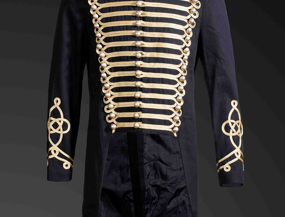 Gothic Steampunk Men's Upscale Gold Trim Military Tailcoat