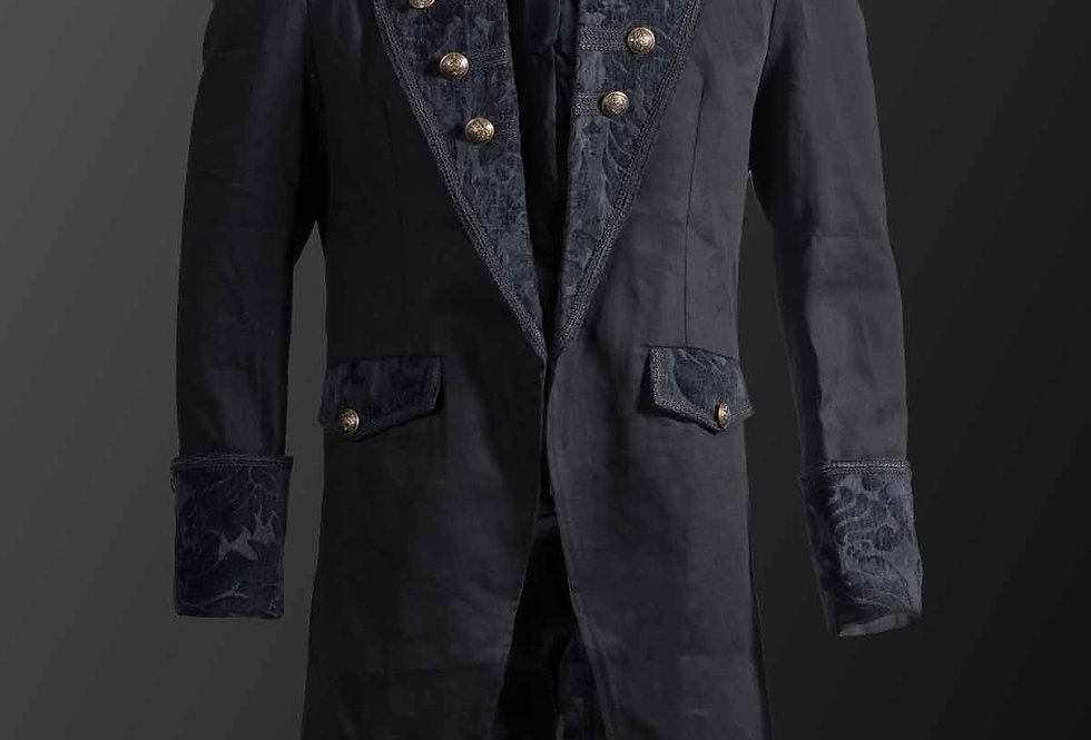 Black Military Frock Coat With Large Velvet Brocade Lapels