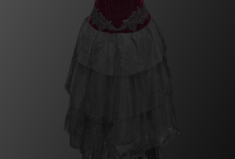 Gorgeous Burgundy Red Velvet Black Cascading Lace Gothic Dress