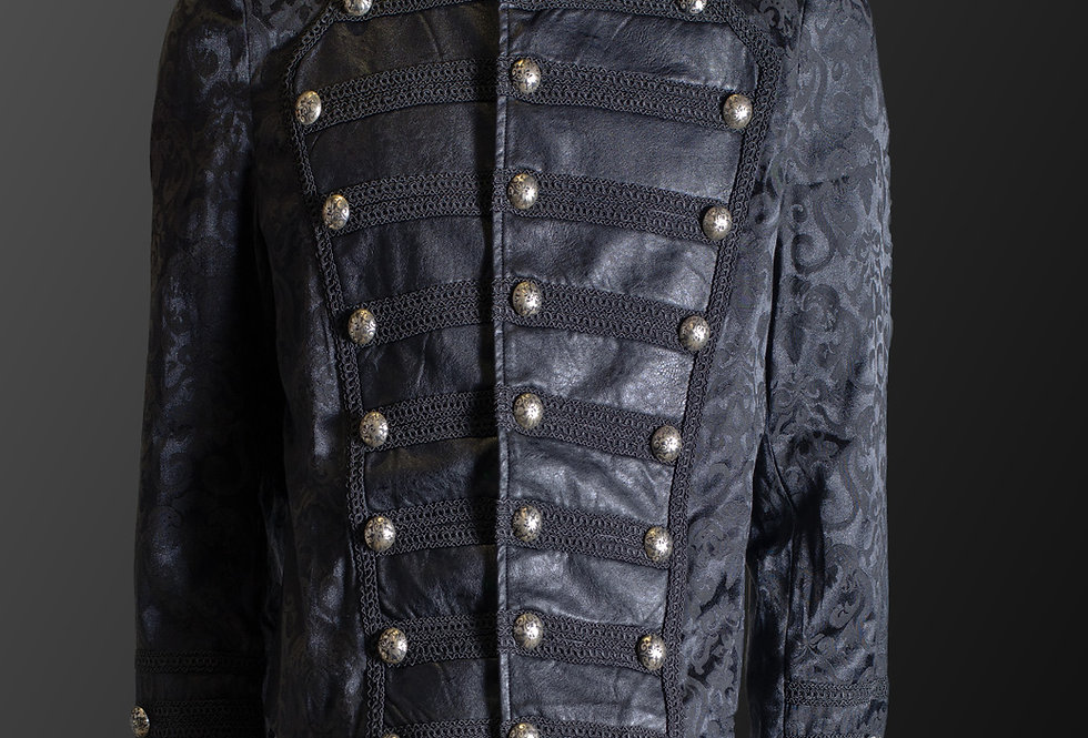 Gothic Military Style Steampunk Brocade Pattern Jacket