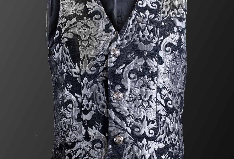 Royal Court Brocade Waistcoat in Black & Silver