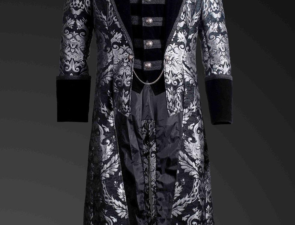Aristocratic Silver Brocade Full Length Men's Coat with Built-in Waistcoat