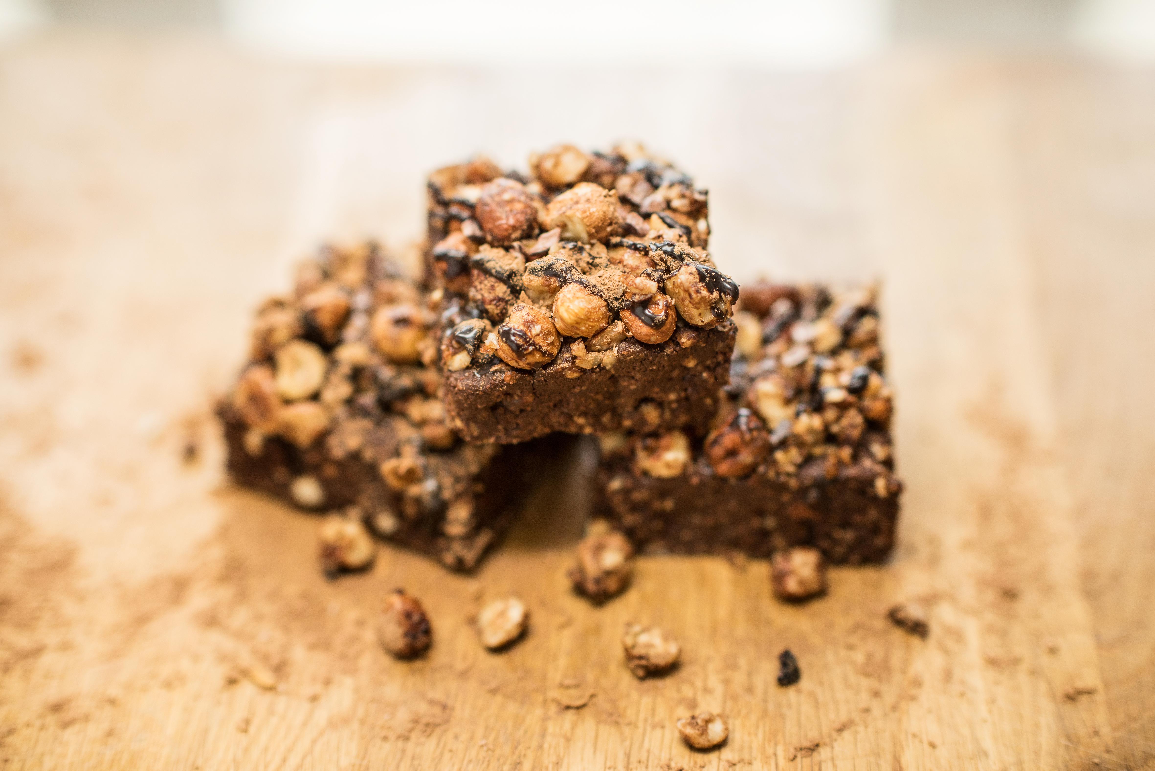 Raw chocolate brownie stack