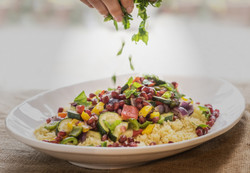 Roasted veggie couscous and fresh herbs
