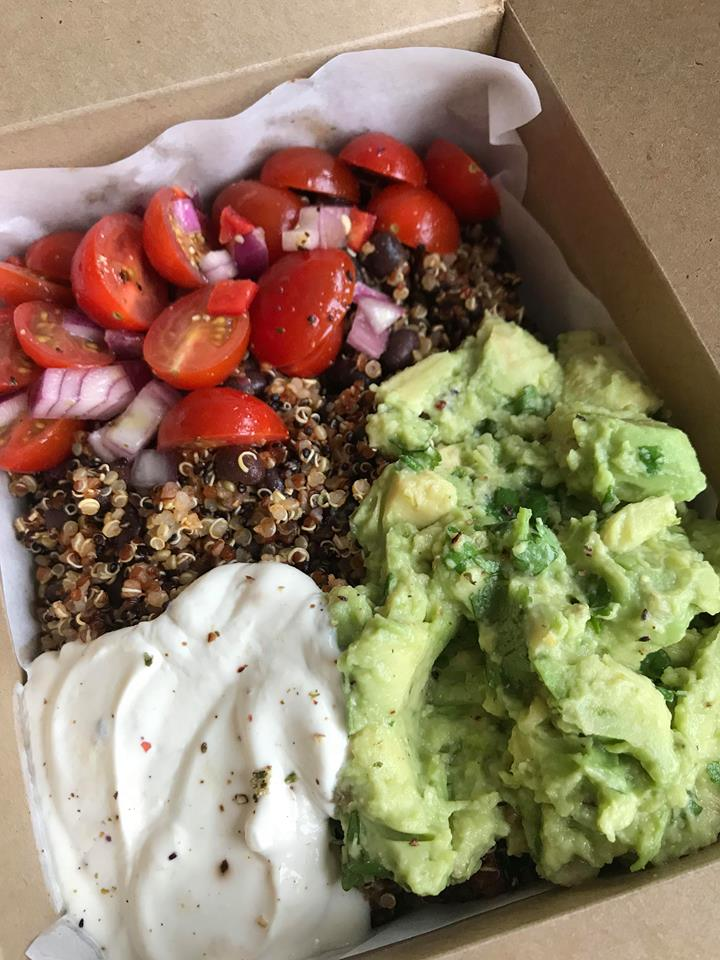 Quinoa, salsa and guacamole salad