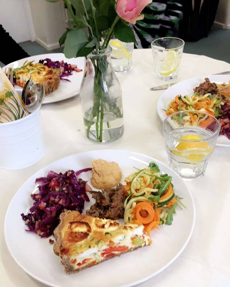 Quiche and salad selection