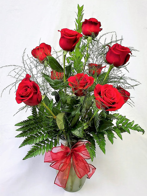 One Dozen Red Roses with Mixed Greenery 1103-069