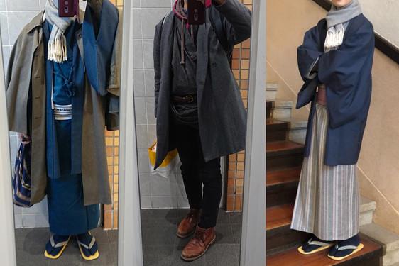着物の上に洋服のコートを着る