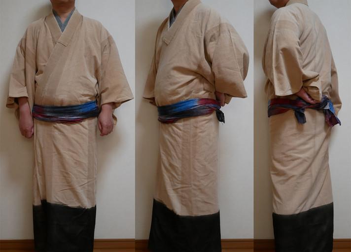 着古した木綿の着物の裾の部分染めをしてみました その1
