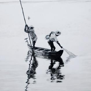 Two men in a boat