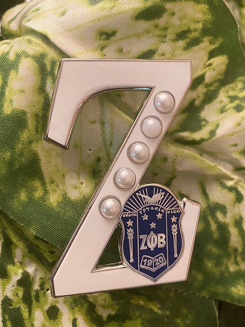 "Zeta Phi Beta blue Shield ""white Z"" Lapel Pin w/blue shield"