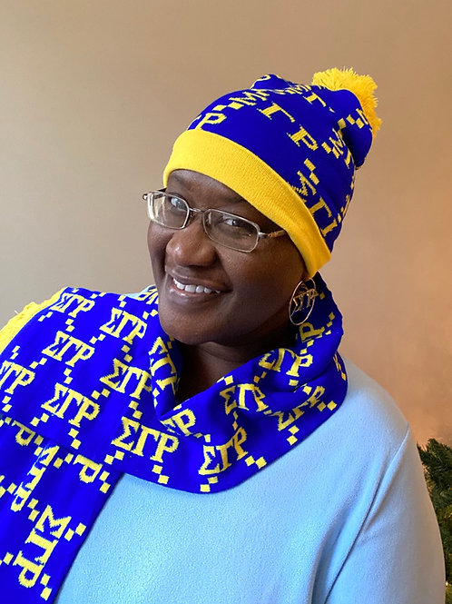 Sigma Gamma Rho Letter Hat and Scarf Set