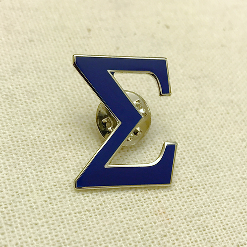 Blue Sigma Letter Lapel Pin