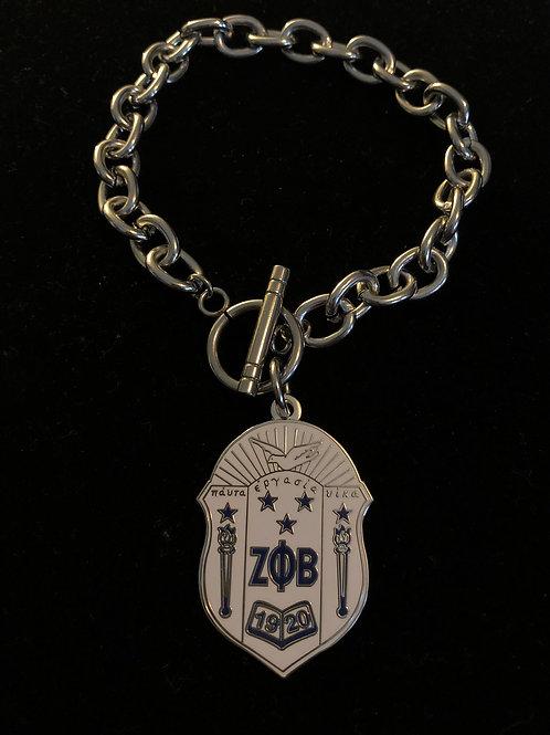 Zeta White Shield Stainless Toggle Bracelet