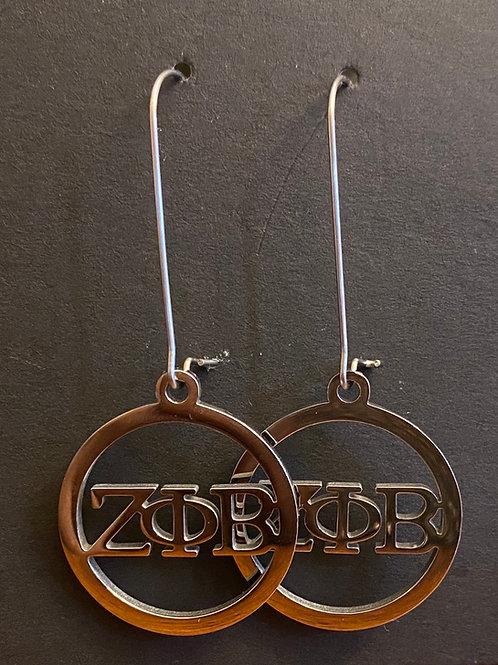 Zeta Greek Letter Stainless Earrings