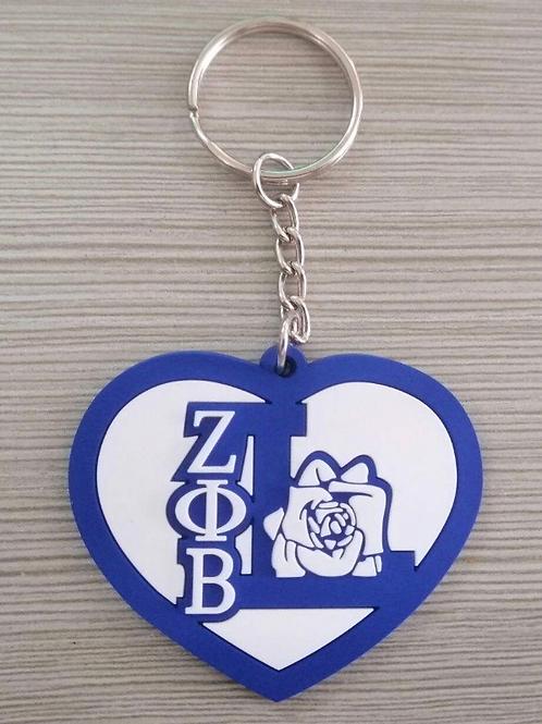 Zeta Life Member Heart Keychain