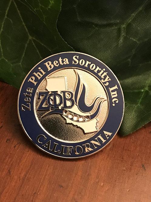 Zeta Phi Beta California Lapel Pin