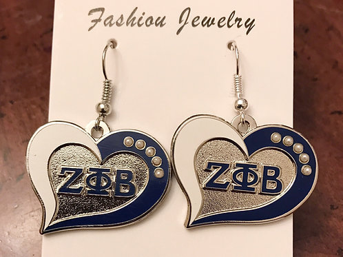 Zeta Phi Beta Pearl Heart Earrings