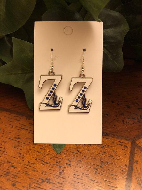 Zeta Dove (white) with blue stones-Earrings