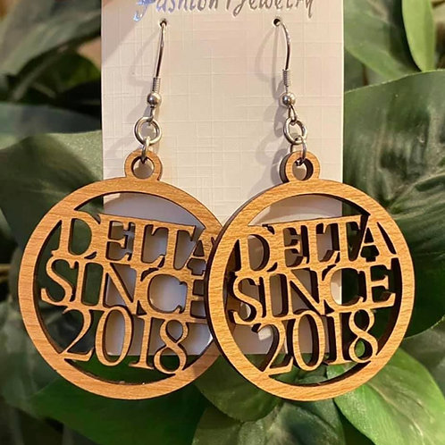 Delta Since Wood Earrings -2 inches