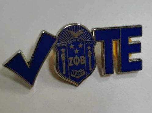 Zeta  Check Shield Vote Lapel Pin - Version 2