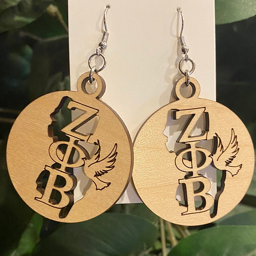 New Jersey Zeta Wooden Earrings-2 inches