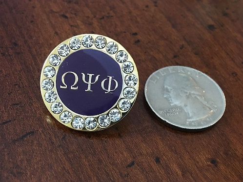 Omega Psi Phi Crystal Lapel Pin