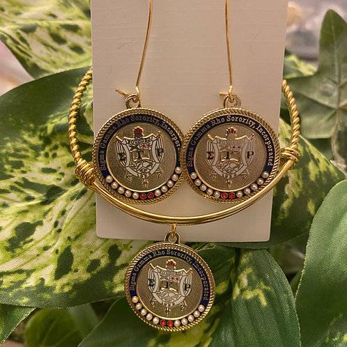 SGRho Gold Shield Executive Set (earrings and bracelet)