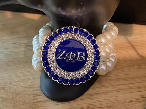 Zeta Phi Beta Crystal  3 Strand Pearl Bracelet