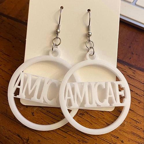 Zeta Amicae White Acrylic Earrings